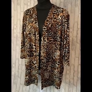 Long Animal Print Jacket with 3/4 Sleeves 3X